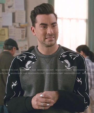 David's panther print sweatshirt on Schitt's Creek