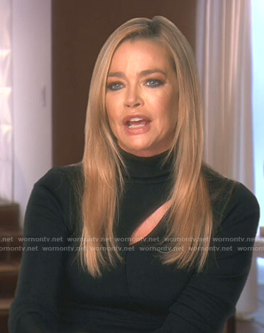 Denise's black turtleneck cutout sweater on The Real Housewives of Beverly Hills