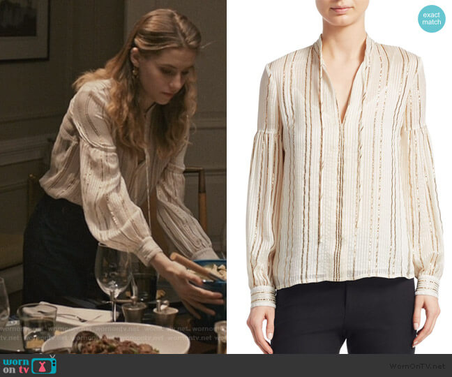 Metallic V-Neck Blouse by Derek Lam 10 Crosby worn by Stephanie 'Stevie' McCord (Wallis Currie-Wood) on Madam Secretary