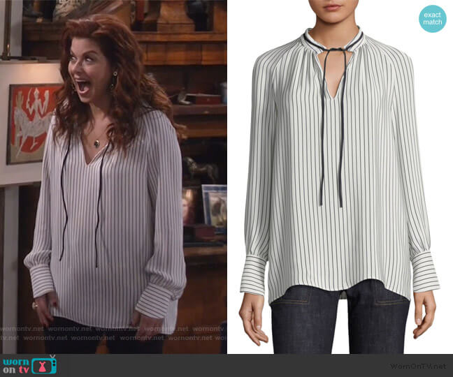 Striped Silk Blouse by Derek Lam worn by Grace Adler (Debra Messing) on Will & Grace