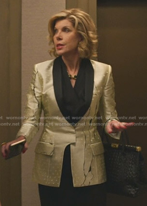 Diane's metallic printed blazer on The Good Fight