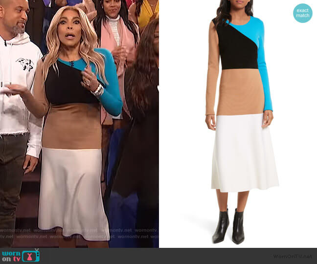 Crewneck Flare Knit Dress by Diane Von Furstenberg worn by Wendy Williams  on The Wendy Williams Show