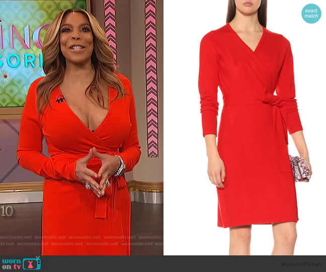 New Linda wool and cashmere dress by Diane von Furstenberg worn by Wendy Williams  on The Wendy Williams Show