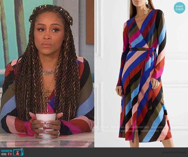 Stripe Silk Wrap Midi Dress by Diane von Furstenberg worn by Eve  on The Talk