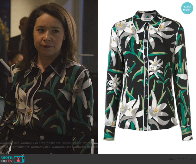 floral print shirt by Diane von Furstenberg worn by Marissa Gold (Sarah Steele) on The Good Fight