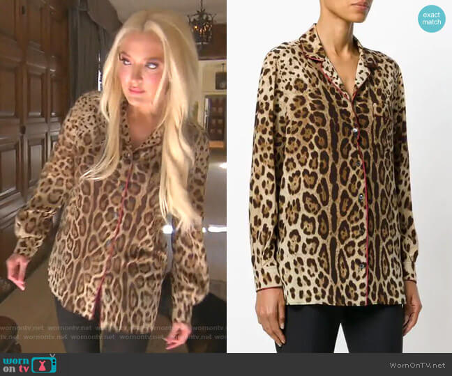 Leopard Print Pyjama Shirt by Dolce & Gabbana worn by Erika Girardi  on The Real Housewives of Beverly Hills