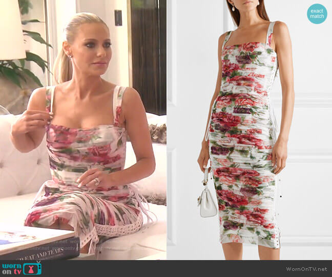 Lace-Up Ruched Floral-Print Tulle Midi Dress by Dolce & Gabbana worn by Dorit Kemsley  on The Real Housewives of Beverly Hills