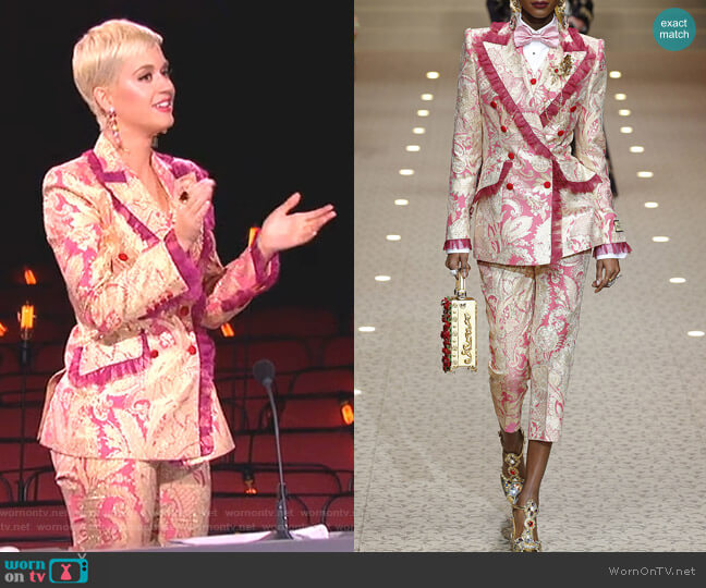 Paisley Vest, Jacket and Trousers by Dolce & Gabbana worn by Katy Perry  on American Idol