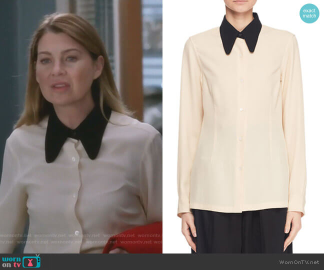 Button-Front Long-Sleeve Blouse w Contrast Collar by Dries Van Noten worn by Meredith Grey (Ellen Pompeo) on Greys Anatomy