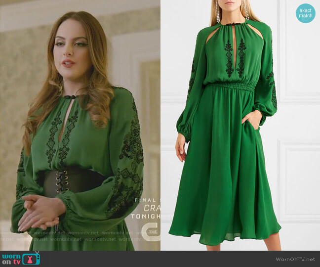 Cutout Embellished Midi Dress by Dundas worn by Fallon Carrington (Elizabeth Gillies) on Dynasty