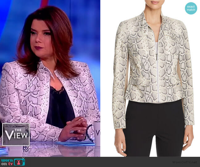 Gwewn Snakeskin-Embossed Jacket by Elie Tahari worn by Ana Navarro  on The View