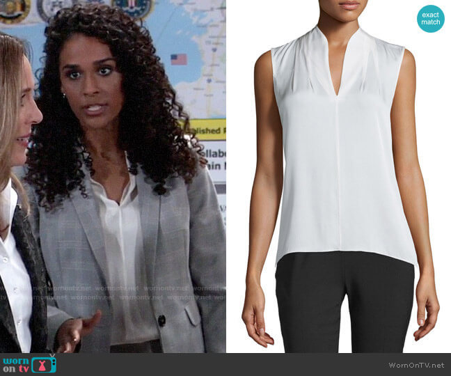 Elie Tahari Judith Blouse worn by Jordan Ashford (Briana Nicole Henry) on General Hospital