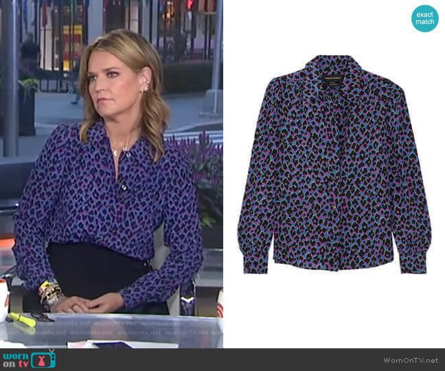 'Elise' Animal Print Silk Shirt by Vanessa Seward worn by Savannah Guthrie  on Today