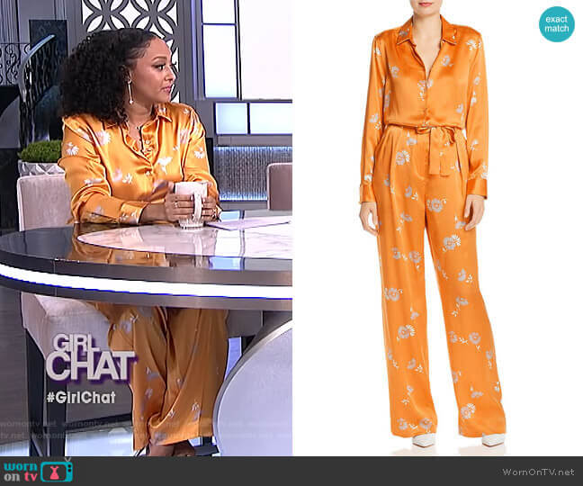 Essential Silk Blouse and Evonne Pants by Equipment worn by Tamera Mowry  on The Real