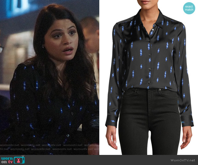 Equipment Essential Silk Shirt in Black/Hyper Blue worn by Mel Vera (Melonie Diaz) on Charmed