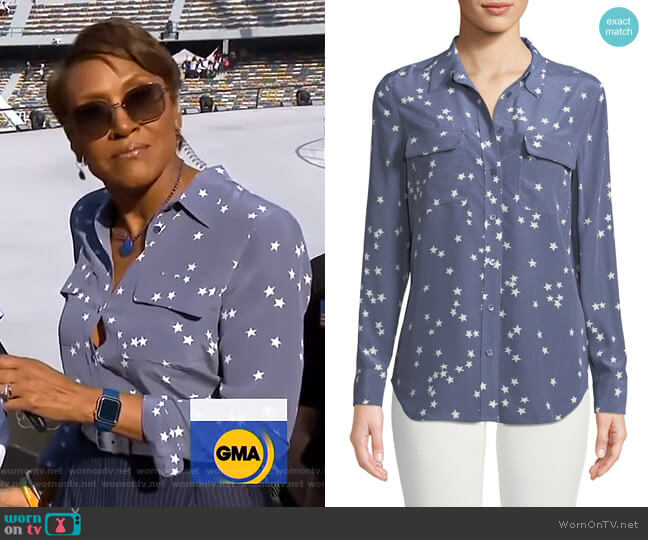Slim Signature Star-Print Shirt by Equipment worn by Robin Roberts  on Good Morning America
