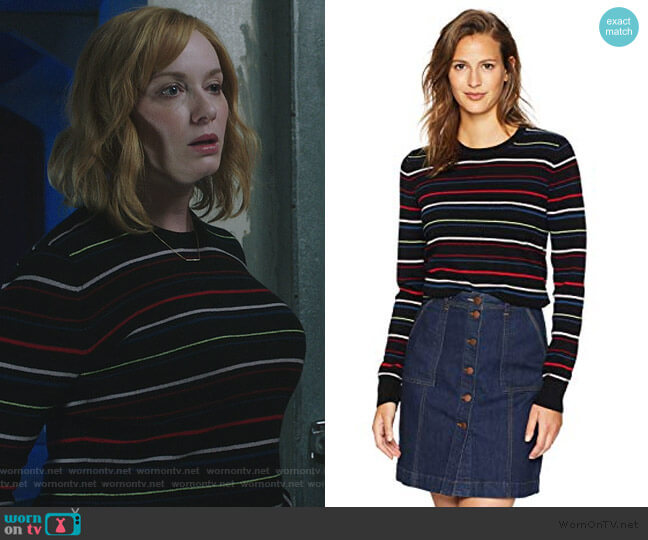 Shirley Stripe Cashmere Sweater by Equipment worn by Beth Boland (Christina Hendricks) on Good Girls