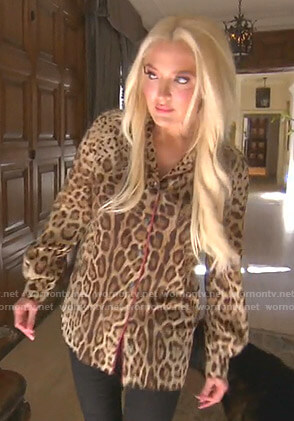 Erika's leopard print shirt with pink piping on The Real Housewives of Beverly Hills