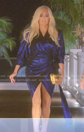 Erika's blue metallic wrap dress on The Real Housewives of Beverly Hills