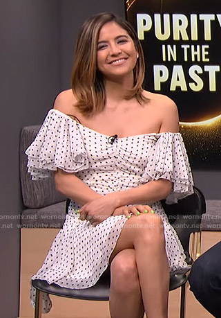 Erin's white polka dot dress on E! News