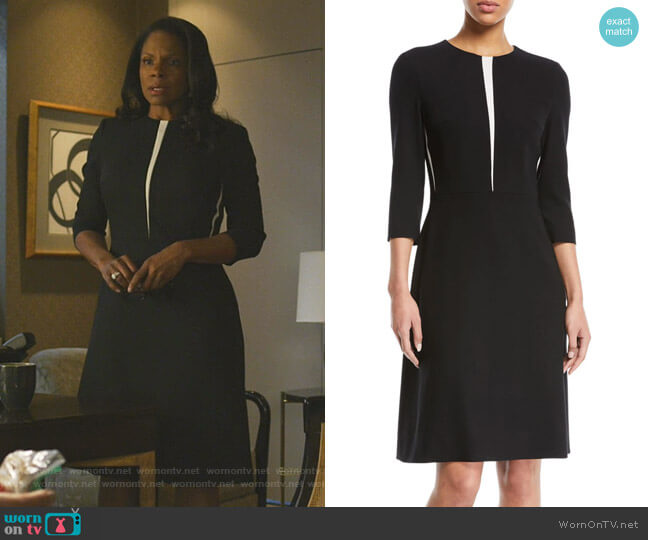 3/4-Sleeve Fit-and-Flare Wool-Blend Dress w Insets by Escada worn by Liz Reddick-Lawrence (Audra McDonald) on The Good Fight
