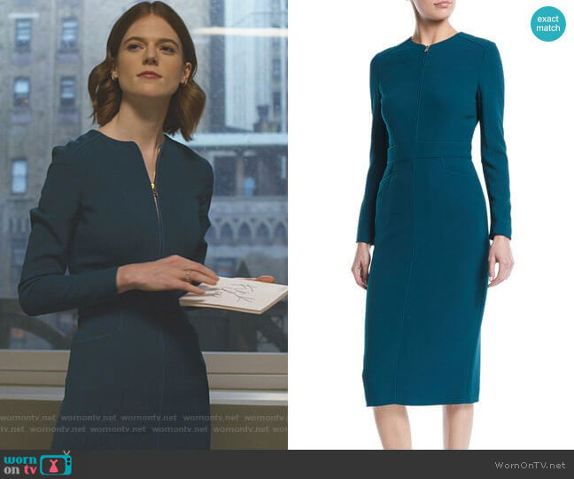 Long-Sleeve Zip-Front Mid-Length Sheath Dress by Escada worn by Maia Rindell (Rose Leslie) on The Good Fight