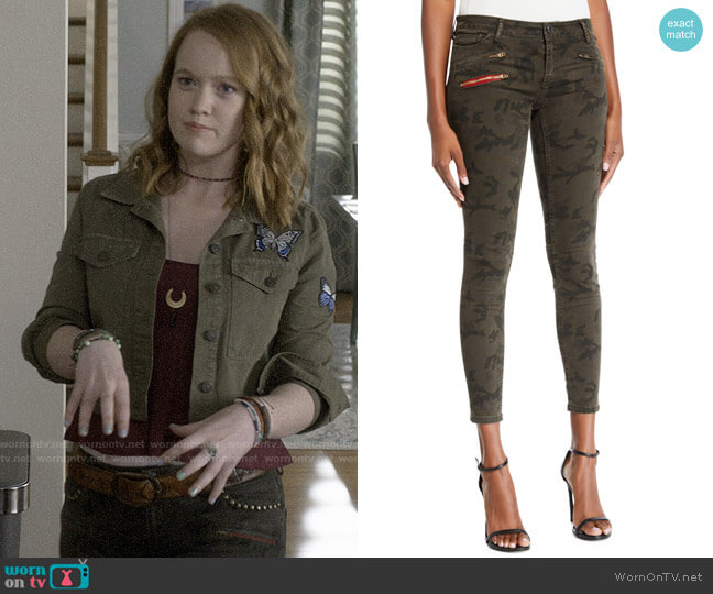 Etienne Marcel Camo-Print Cropped Skinny Jeans worn by Abby Hammond (Liv Hewson) on Santa Clarita Diet