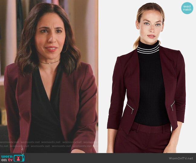 Zip Pocket Cutaway Blazer by Express worn by Valencia Perez (Gabrielle Ruiz) on Crazy Ex-Girlfriend
