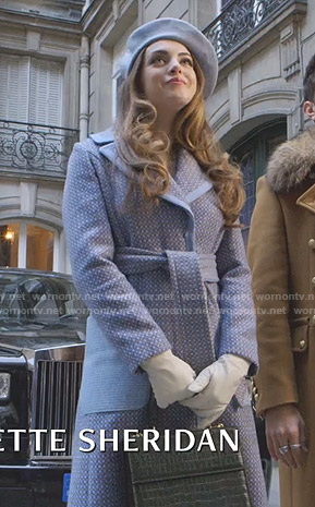 Fallon's blue wrap coat on Dynasty