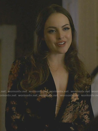 Fallon's black floral robe on Dynasty