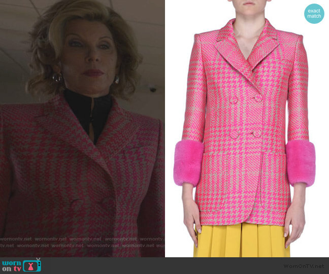 Princes of Wales Check Jacket with Fur Cuffs by Fendi worn by Diane Lockhart (Christine Baranski) on The Good Fight