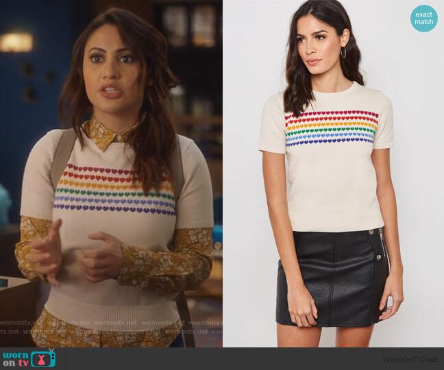 Rainbow Heart Short Sleeve Sweater worn by Ana Torres (Francia Raisa) on Grown-ish
