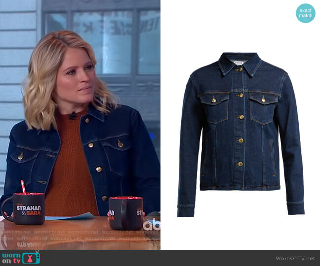 Snap Away Cotton-Blend Denim Jacket by Frame worn by Sara Haines  on Good Morning America
