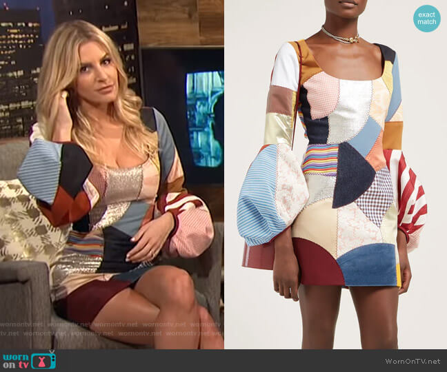 Patchwork scoop-neck dress by Françoise worn by Morgan Stewart  on E! News