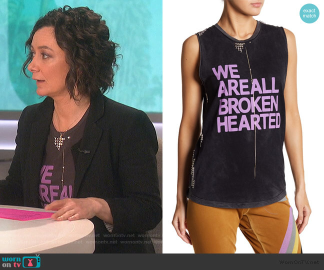Broken Hearted Studded Tank Top by Free City worn by Sara Gilbert  on The Talk