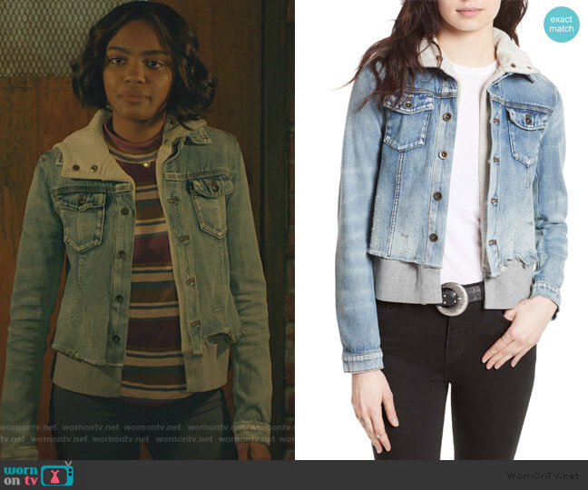 Double Weave Denim Jacket by Free People worn by Jennifer Pierce (China Anne McClain) on Black Lightning