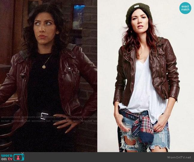 Free People Vegan Leather Hooded Motorcycle Jacket worn by Rosa on Brooklyn Nine-Nine