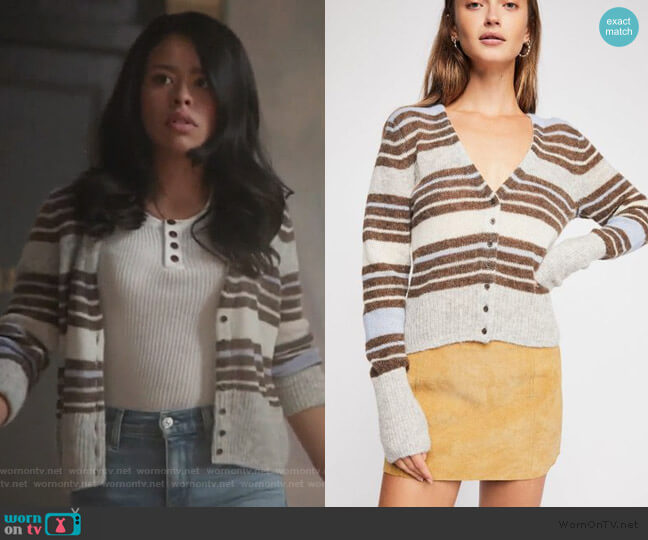 Kinsley Cardi by Free People worn by Mariana Foster (Cierra Ramirez) on Good Trouble