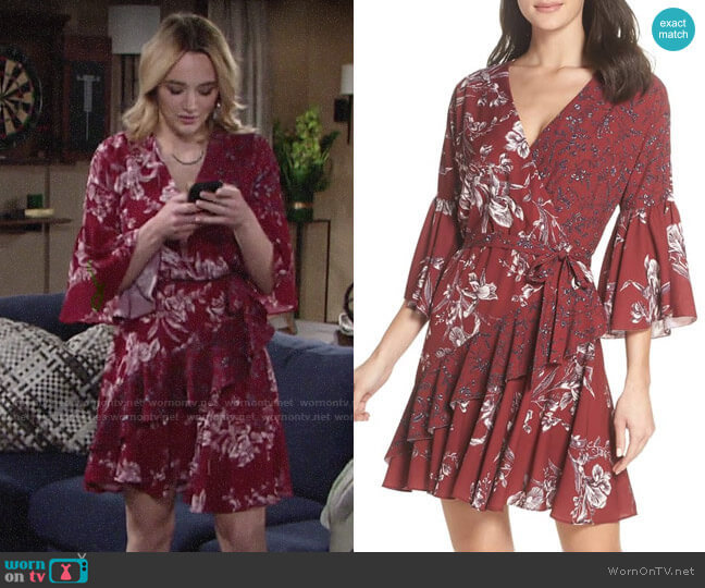 French Connection Ellette Dress in Deep Framboise Multi worn by Summer Newman (Hunter King) on The Young & the Restless