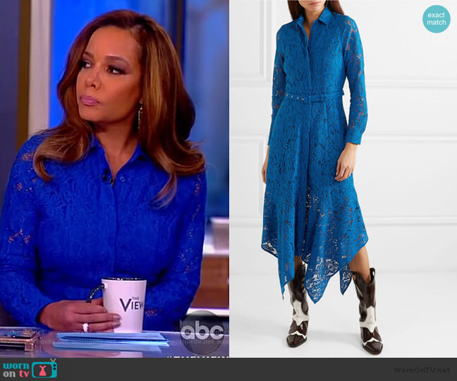 Belted Asymmetric Lace Dress by Ganni worn by Sunny Hostin  on The View