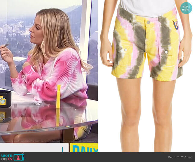 Colored Wash Denim Shorts by Ganni worn by Morgan Stewart  on E! News