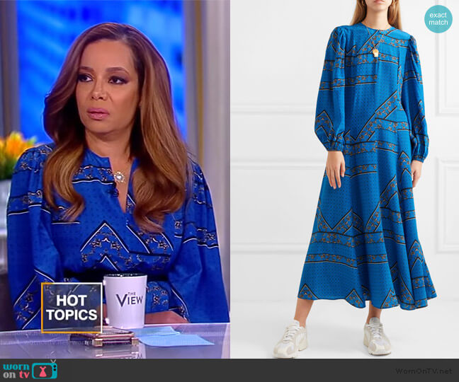 Printed silk crepe de chine maxi dress by Ganni worn by Sunny Hostin  on The View