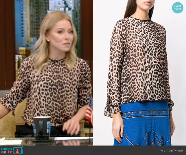 Leopard Print Long-Sleeve Blouse by Ganni worn by Kelly Ripa  on Live with Kelly & Ryan