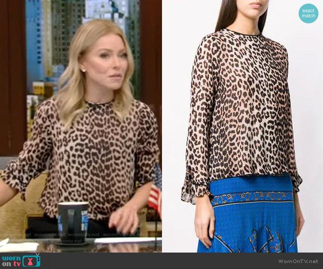 Leopard Print Long-Sleeve Blouse by Ganni worn by Kelly Ripa (Kelly Ripa) on Live with Kelly & Ryan