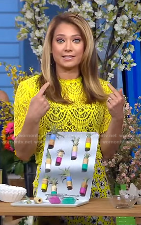 Ginger's yellow lace top and floral skirt on Good Morning America