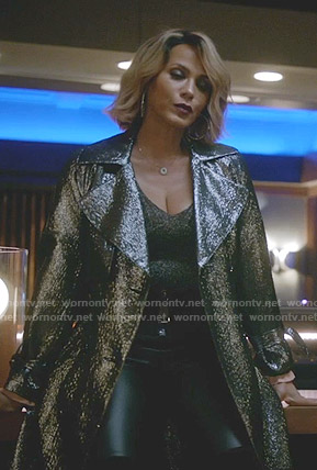 Giselle's metallic trench coat on Empire