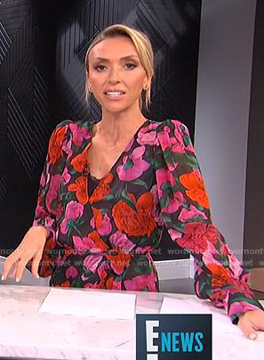 Giuliana's black floral wrap mini dress on E! News