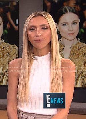 Giuliana's white ribbed sleeveless top on E! News