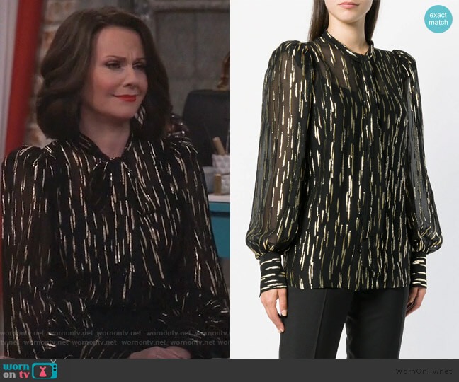 fil coupé pussy bow blouse by Givenchy worn by Karen Walker (Megan Mullally) on Will & Grace
