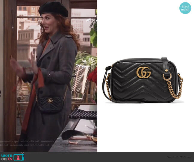 GG Marmont mini quilted-leather cross-body bag by Gucci worn by Grace Adler (Debra Messing) on Will & Grace